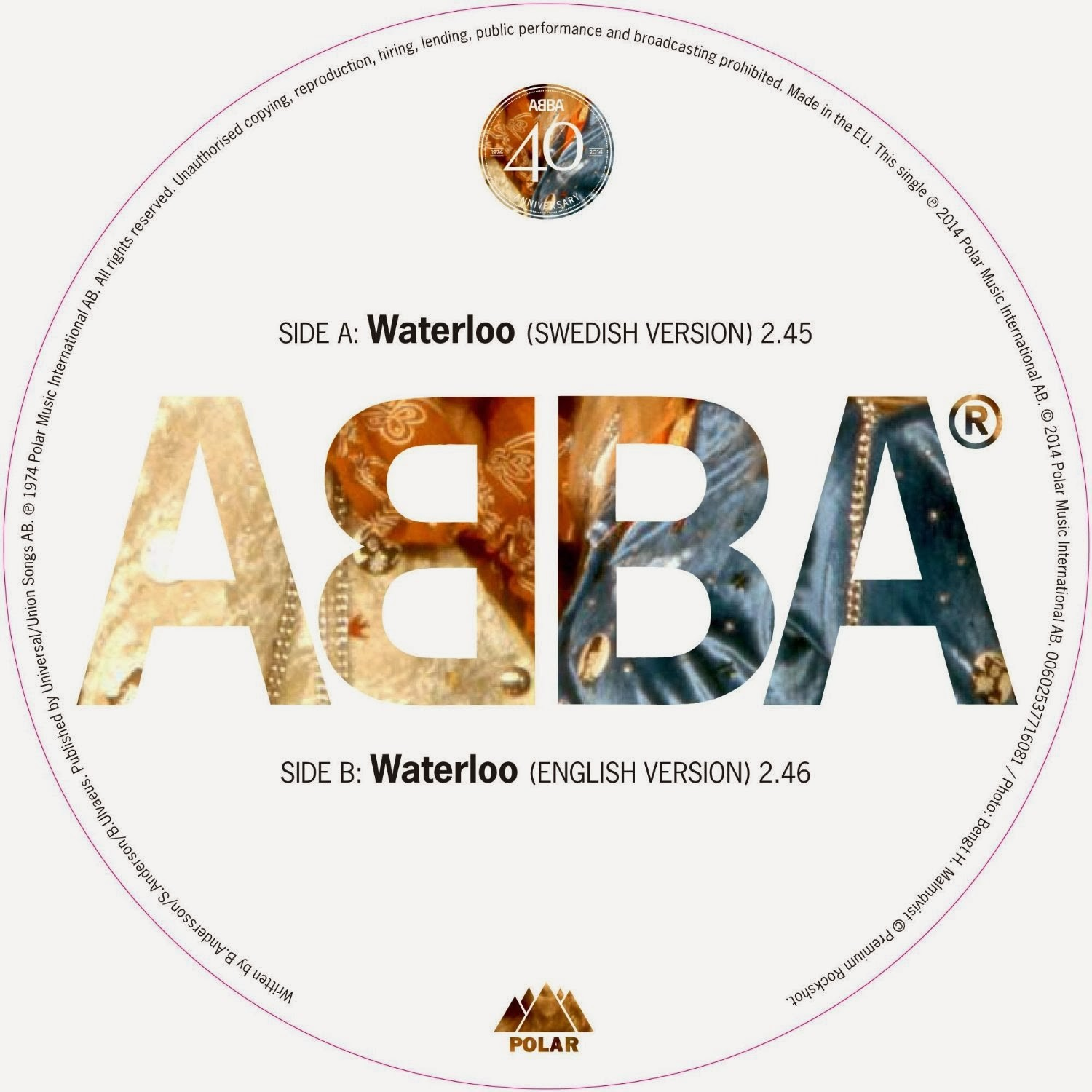 "ABBA - Waterloo 7"" Vinyl RSD Limited Edition Picture Disc"